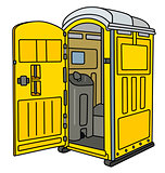 Yellow mobile toilet