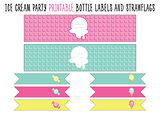 Bottle label and strawflags. Ice cream party