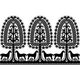 Seamless Polish folk art black pattern