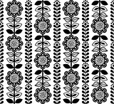 Finnish inspired seamless folk art pattern - black design, Scandinavian, Nordic style
