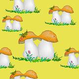Mushrooms, Seamless Pattern