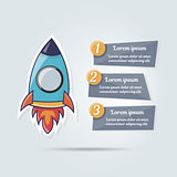 Stylish cartoon rocket vector illustration for web site. Banner for a website or booklet. Modern web elements. Business startup banner concept, flat style. Cool on a numbered list.