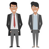 Vector character illustration. Business woman and man in a suit and tie on the white background.