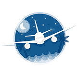 Travel illustration. Icon flying in the sky plane on blue background in flat style with contour.