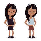 Cartoon character girl. Avatar for a blog or promotional products. A child with long black hair in a skirt. Funny and cheerful.