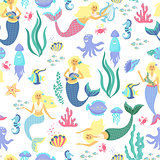 Cartoon mermaid seamless pattern on transparent background. Vector illustration