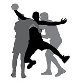 Two handball players blocking opponent player