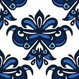blue and white damask luxury seamles pattern.