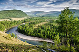 View above oka river, russian nature. Buryatia. Siberia.