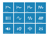 Sound wave types icons on blue background.