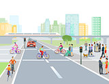 Road with road crossing in the city, illustration