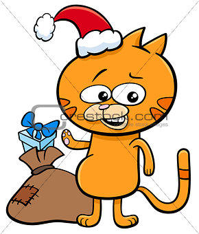 kitten on Christmas time cartoon