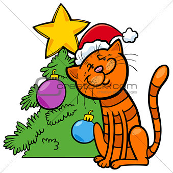 cat with Christmas tree cartoon