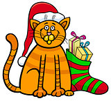 cat with gifts on Christmas time