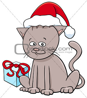 kitten with present on Christmas