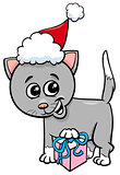 kitten with Christmas gift cartoon