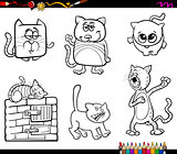 funny cat characters coloring book