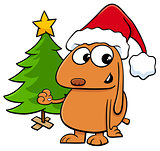 dog with Christmas tree cartoon