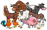 cartoon farm animals group