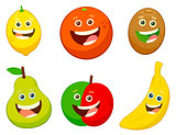 cartoon fruit characters set