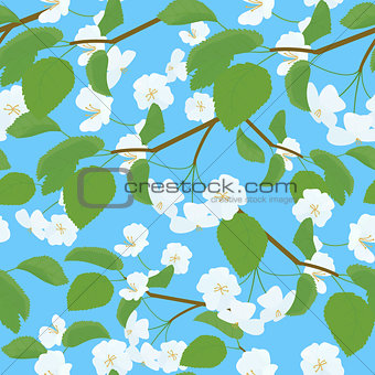Blossoming Apple Tree spring Twig pattern on blue