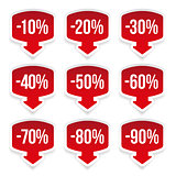 Sale sticker set red