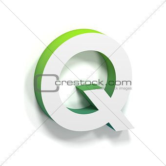 Green gradient and soft shadow letter Q