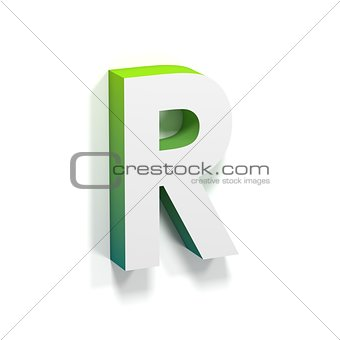 Green gradient and soft shadow letter R