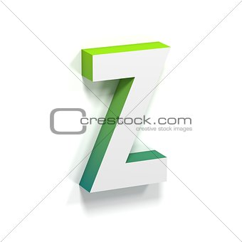 Green gradient and soft shadow letter Z