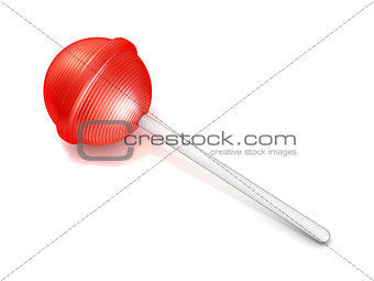 Single red lollipop. 3D