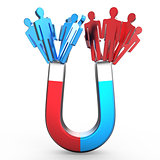 People magnet attracting two different colored people shapes. At