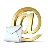 Envelope with golden e-mail sign. 3D