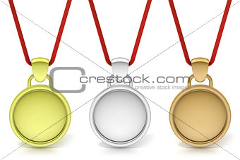 Three simple medals, gold, silver and bronze