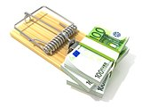 Stack of hundreds euros, like bait, in wooden mousetrap. 3D