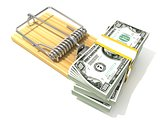 Stack of hundreds dollars, like bait, in wooden mousetrap. 3D