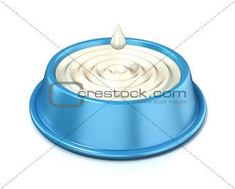 Blue cat bowl with milk, 3D