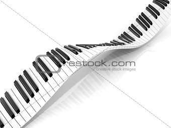 Wavy abstract piano keyboard