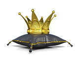 Royal black leather pillow and golden crown. 3D