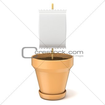 Clay plant pot with blank paper sign on wooden stick. 3D