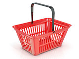 Red shopping basket, side view. 3D
