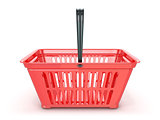 Red shopping basket, front view. 3D