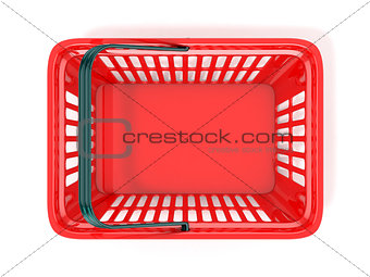 Red shopping basket, top view. 3D