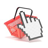 Shopping basket and pointing hand cursor. Internet commerce conc