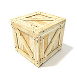 Wooden box. Side view. 3D