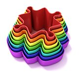 Concentric colorful jigsaw puzzle outlined pieces