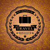 Logo with suitcase for summer travel holidays