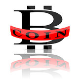 Bitcoin emblem isolated on white