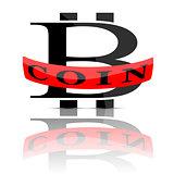 Bitcoin emblem isolated on white