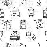 Line art icon seamless pattern for Moving. Thin line art icons. Flat style illustrations isolated.