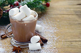 Cocoa with marshmallow traditional Christmas dessert